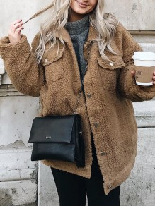 Brown Single Breasted Pockets Turndown Collar Long Sleeve Fashion Teddy Coat