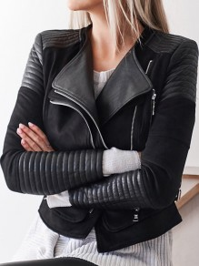 Black Patchwork PU Leather Zipper Turndown Collar Long Sleeve Jacket Coat