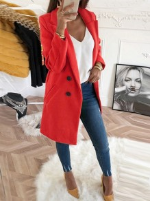 Red Pockets Buttons Lapel Collar Long Sleeve Wool Coat