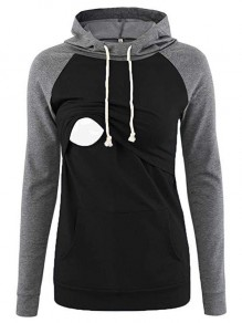 Black Patchwork Pocket Drawstring Hooded Long Sleeve Pullover Maternity Sweatshirt