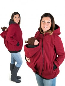 Red Kangaroo Pocket Zipper Long Sleeve Fashion Pullover Maternity Sweatshirts