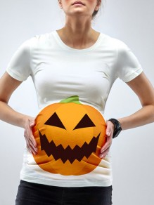 White Pumpkin Lantern Print Bodycon Round Neck Maternity For Babyshowes T-Shirt