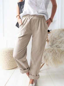 Khaki Patchwork Pockets Elastic Waist Loose Fashion Long Pants