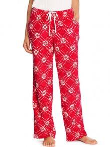 Red Snowflake Print Drawstring Pockets High Waisted Casual Wide Leg Palazzo Loungewear Lounge Bottoms