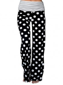 White Polka Dot Casual High Waisted Wide Leg Palazzo Yoga Track Loungewear Lounge Bottoms