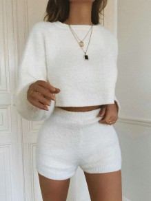 White Round Neck Long Sleeve High Waisted Fluffy Crop Knitted Sweater Short Lounge Sets