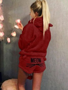 Burgundy Letter Meow Pattern Pockets Cat Hooded Fuzzy Pajama Lounge Set