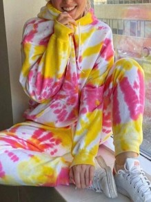 Yellow Color Block Tie Dye Hooded Two Piece Pajama Loungewear Tracksuit Lounge Set