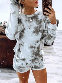 Grey Patchwork Drawstring Tie Dye Two Piece Tracksuit Casual Pullover Sweatshirt