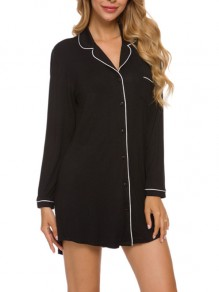 Black Patchwork Buttons One Piece Elegant Loungewear Lounge Dress