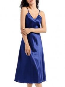 Blue Patchwork Shoulder-Strap One Piece Fashion Loungewear Lounge Dress
