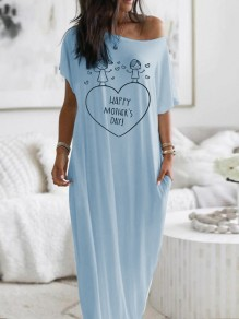 Blue Heart Letter Print Bequemes One? Schulter Loungewear Lounge Kleid