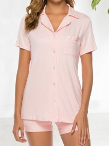 Pink Pockets Single Breasted Modal Short Jumpsuit Pajama Set