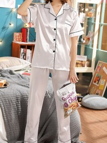 White Single Breasted Pockets Mid-rise Sleepwear Long Pajama Set