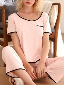 Pink Pockets Round Neck Short Sleeve Sleepwear Long Pajama Set