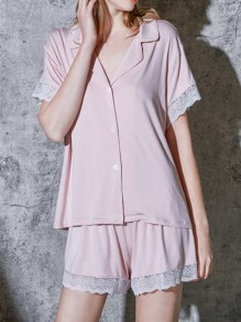 Pink Patchwork Lace Single Breasted Short Sleeve Sleepwear Short Pajama Set
