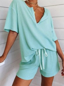 Blue Patchwork Drawstring V-neck Short Sleeve Fashion Sleepwear Pajama Sets
