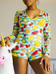Green-White Striped Fruits Print Buttons V-neck Long Sleeve Short Romper Pajama