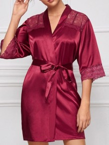 Wine Red Lace Sashes V-neck Elbow Sleeve Elegant Pajamas Mini Dress