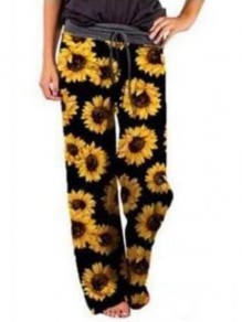 Black Sunflowers Pattern Drawstring High Waisted Pajama Palazzo Wide Leg Long Pants