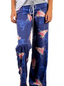 Multicolor Floral Print Vintage Fashion Sleepwear Sleep Bottoms