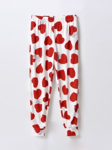 Red Patchwork Pattern Trendy Sleepwear Sleep Bottoms