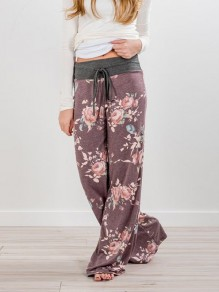 Purple Floral Print Drawstring Loose Mid-rise Fashion Sleepwear Sleep Bottoms