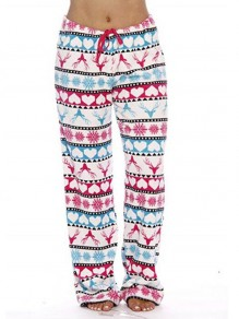 White Cartoon Elk Pattern Drawstring Fuzzy Wide Leg Palazzo Pajama Sleepwear Long Pants