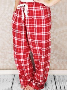 Red-White Plaid Pattern Drawstring Pockets Wide Leg Palazzo Pajama Sleepwear Long Pants