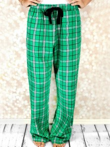 Green-White Plaid Pattern Drawstring Pockets Wide Leg Palazzo Pajama Sleepwear Long Pants