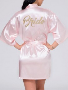 Pink Letter Bride Pattern 3/4 Sleeve Plus Size Pajama Nightwear Night Robe
