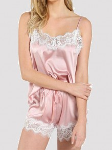 Pink Patchwork Lace Bow High Waisted Short Jumpsuit Night Set