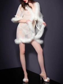 White Patchwork Faux Fur Two Piece Half Sleeve Cover-up Lingerie Nightwear Night Set