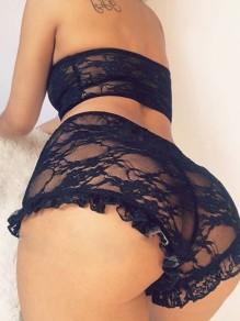 Black Lace Cut Out Bandeau Two Piece High Waisted Sheer Night Set