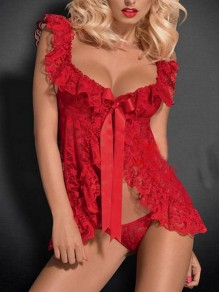 Red Patchwork Lace 2-in-1 V-neck Sleeveless Fashion Lingerie Lingerie