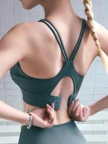 Green Cut Out Backless Non-adjusted Straps Sports Yoga Bra