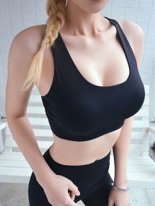 Black Cut Out Backless Non-adjusted Straps Sports Bra