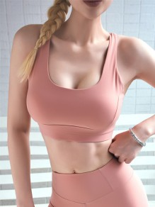 Pink Cut Out Backless Non-adjusted Straps Sports Bra