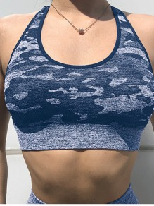 Blue Camouflage Cross Back Running Fitness Sports Bra