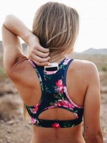 Blue Floral Pockets Running Fitness Sports Bra