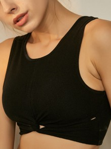 Black Cut Out Strapless Wire Free Padded Sport Bra