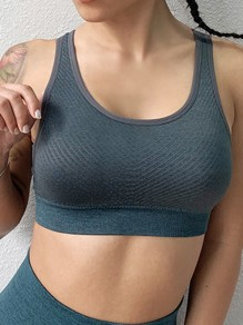 Green Backless Non-adjustable Straps Wire Free Padded Sport Bra