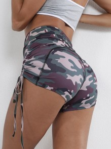 Camouflage Patchwork Print Strappy Slim High Waisted Fashion Sports Lingerie Panty