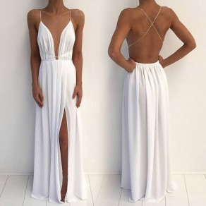 White Condole Belt Backless V-neck Draped Side Silt Summer Beach Maxi Dress