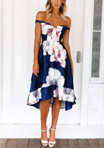 Navy Blue Pleated A-Line Off Shoulder Backless Elegant Banquet Party Midi Dress
