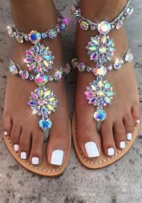 Sandals femme bout rond plat avec strass chaînes mode dorée