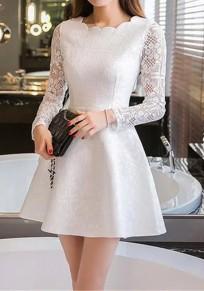 White Lace Draped Round Neck Sleeve Long Fashion Mini Dress