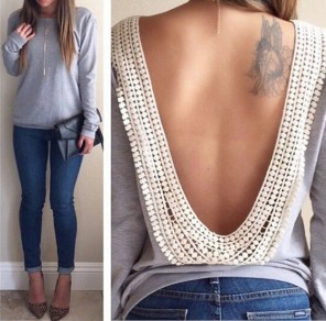 Grey Patchwork Lace Backless Long Sleeve T-Shirt
