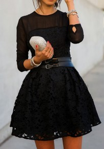 Black Patchwork Grenadine Lace Long Sleeve Dress