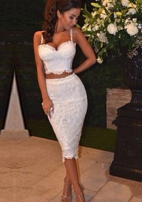 White Plain Condole Belt 2-in-1 Knee Length Lace Dress